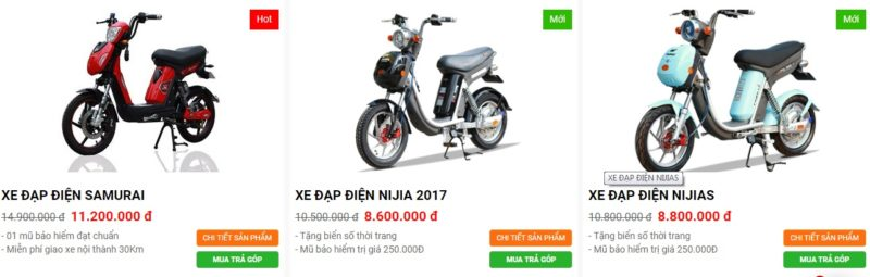 Giá xe đạp điện Nijia tại Hà Nội